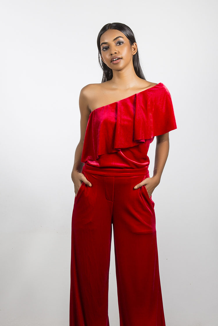 SALOME VELVET RED JUMPSUIT CROP
